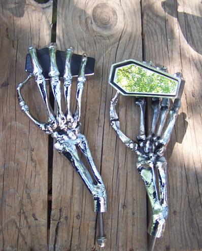 Crypt Coffin Skeleton Hand Mirrors $450/pair