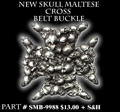 Skull Maltese Cross Belt Buckle