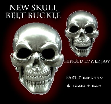 Skull Belt Buckle with Hinged Lower Jaw